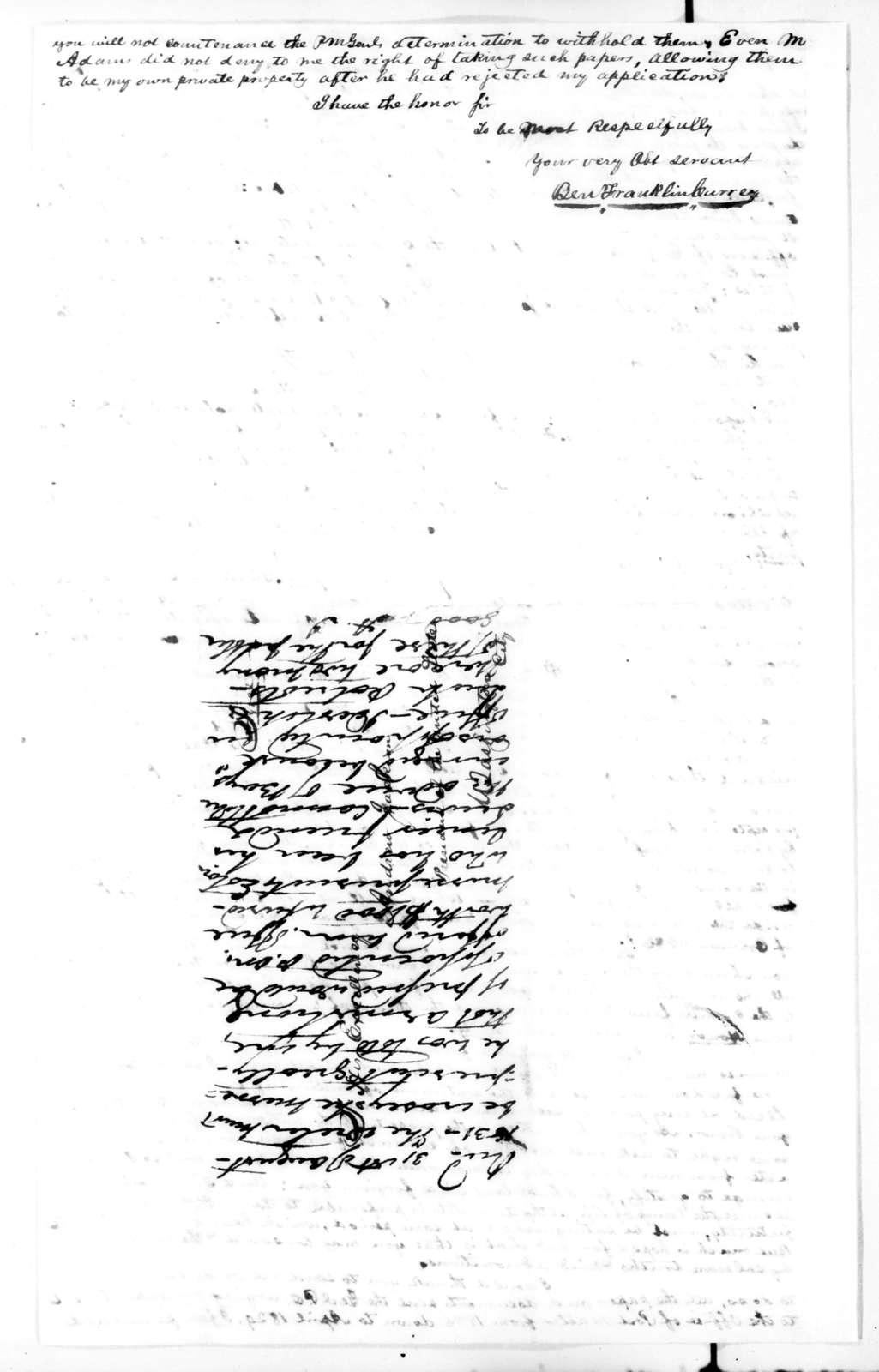 Benjamin Franklin Currey to Andrew Jackson, August 11, 1831