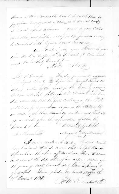 Bill of complaint of William Nicholds and Margaret McMichael against Andrew Jackson and James Hooper over land titles in Bedford County, Tennessee. Enclosure in Samuel Anderson to Andrew Jackson, Nov. 6, 1832. May 25, 1831