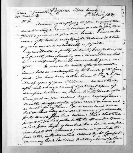 Carter Beverley to Robert Selden Garnett, February 4, 1831