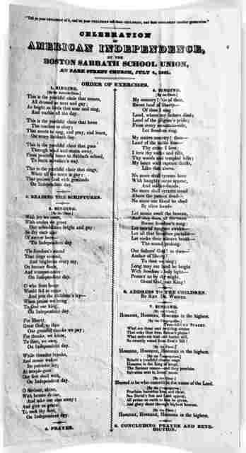 Celebration of American independence by the Boston Sabbath School Union, at Park Street Church, July 4, 1831. Order of exercise.