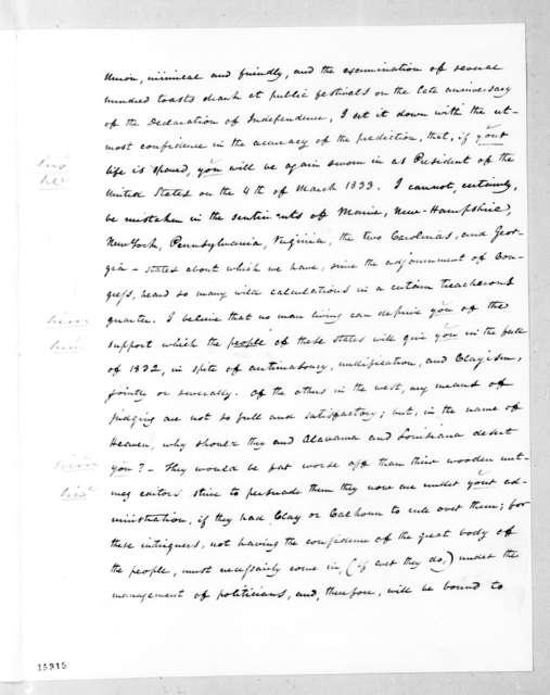Charles Gerrit DeWitt to Andrew Jackson, July 20, 1831