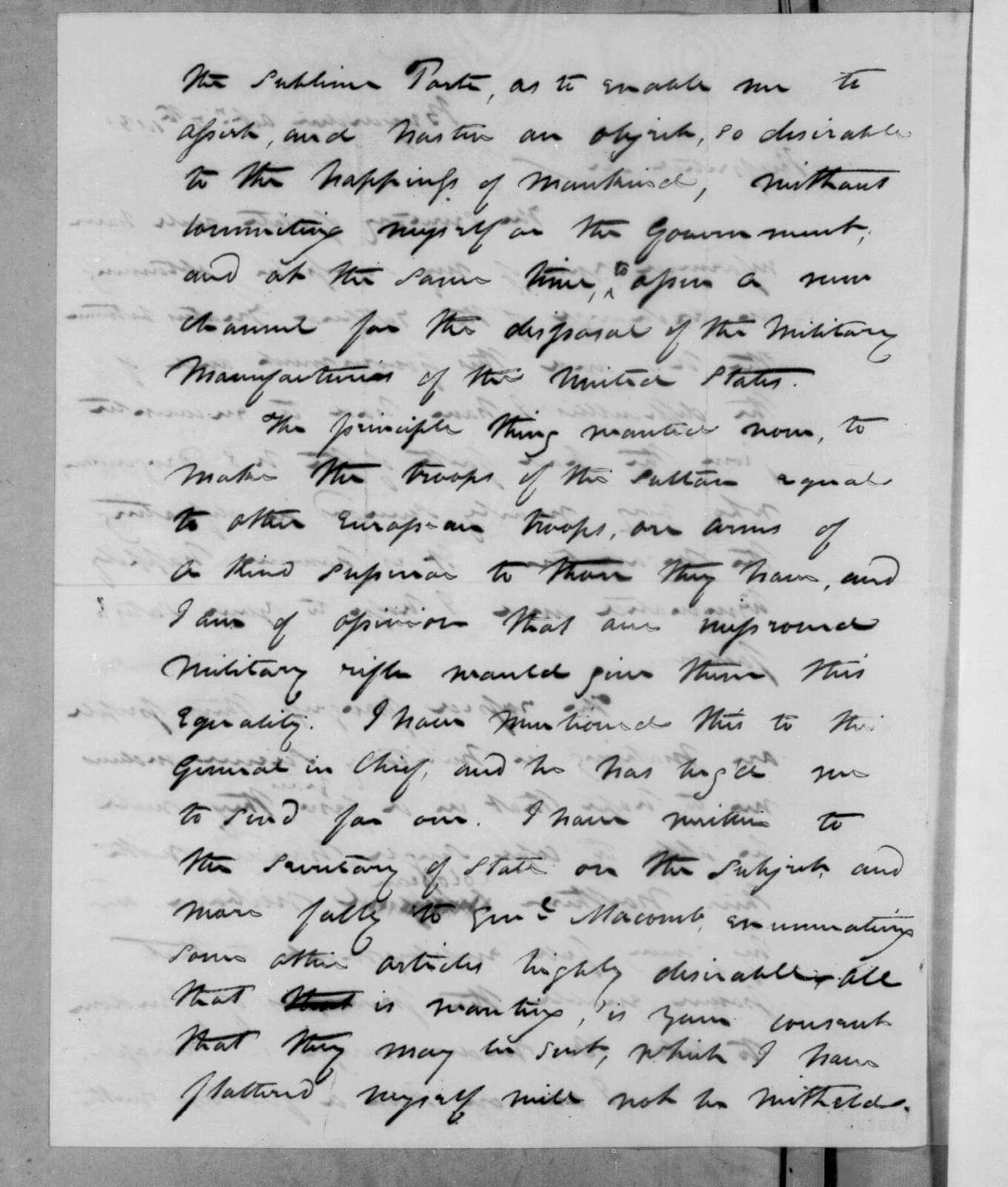 David Porter to Andrew Jackson, October 7, 1831