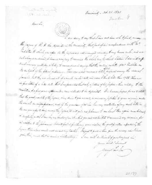 George Tucker to James Madison, October 21, 1831.