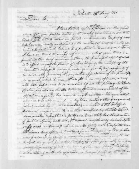 George Washington Campbell to Andrew Jackson, January 14, 1831