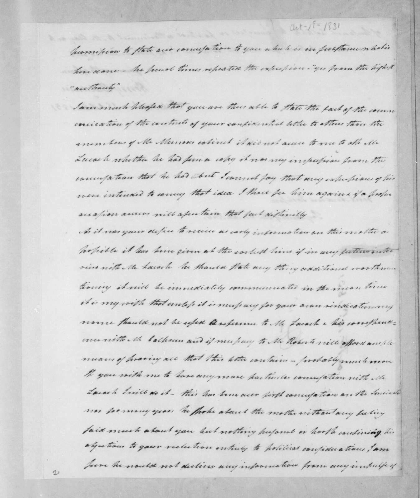 Henry Baldwin to Andrew Jackson, October 18, 1831