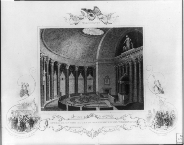 Interior of the House of Representatives, Washington / drawn by W. Goodacre, Junr., N.Y. ; engraved & printed by Fenner Sears & Co.