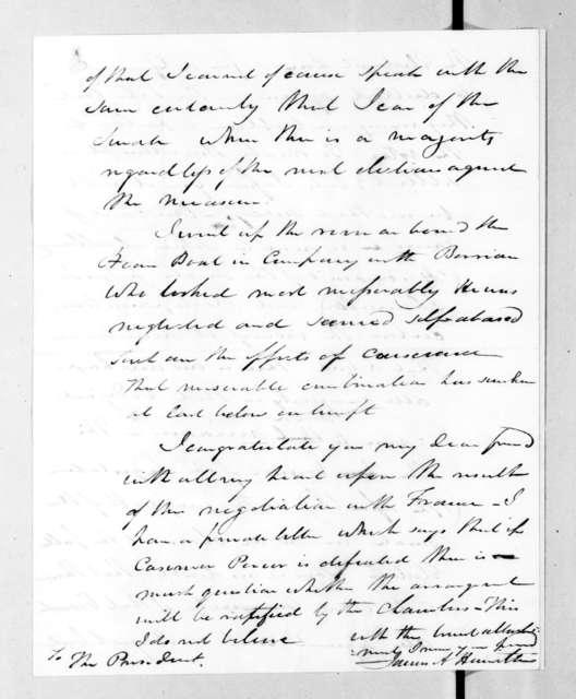 James Alexander Hamilton to Andrew Jackson, September 1, 1831