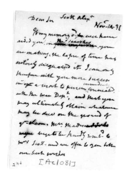 James Madison to Alexander Scott, November 14, 1831.