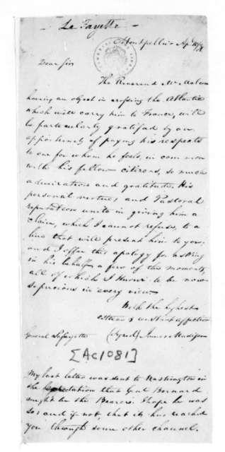 James Madison to Marie Joseph Paul Yves Roche Gilbert du Motier, Marquis de Lafayette, April 10, 1831.