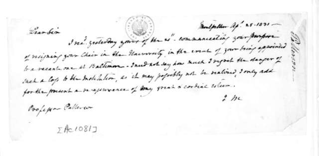 James Madison to Richard M. Patterson, April 25, 1831.