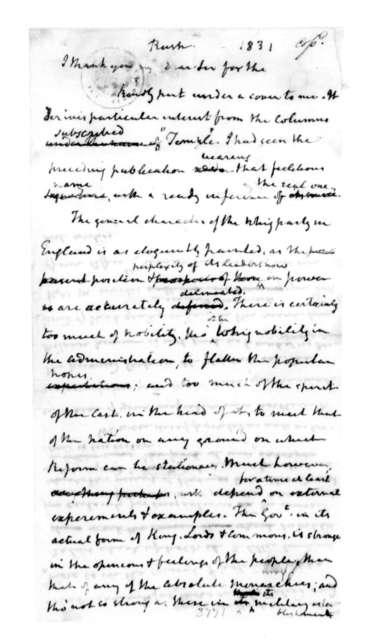 James Madison to Richard Rush. 1831.