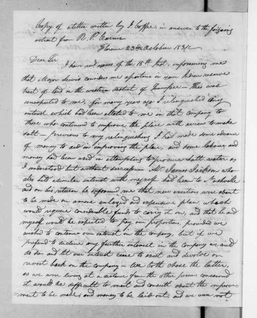 John Coffee to Robert P. Currin, October 23, 1831