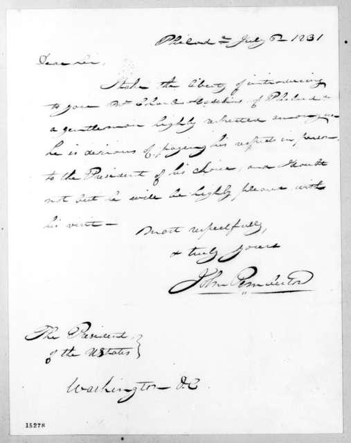 John Pemberton to Andrew Jackson, July 6, 1831