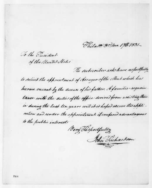 John Richardson to Andrew Jackson, March 17, 1831