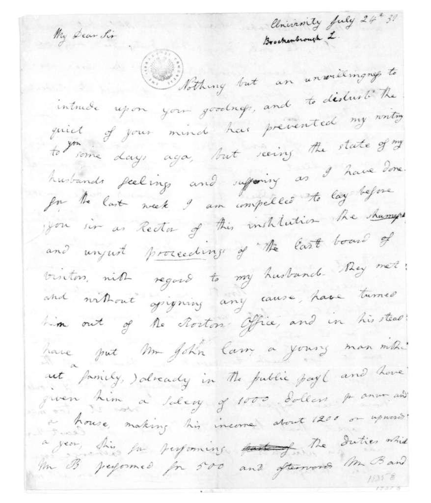 L. Brockenbrough to James Madison, July 24, 1831.