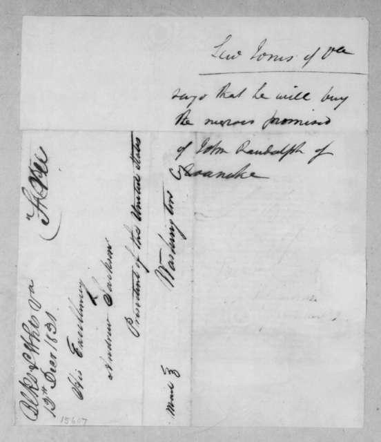 Levi Jones to Andrew Jackson, December 12, 1831