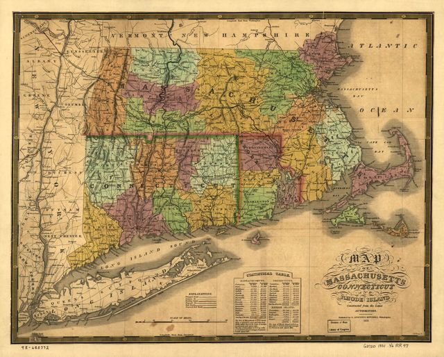 Map of Massachusetts, Connecticut and Rhode Island; constructed from the latest authorities.