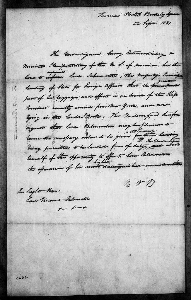 Martin Van Buren Papers: Series 2, General Correspondence, 1787-1868; 1831; 1831, Sept. 22 - Dec. 31