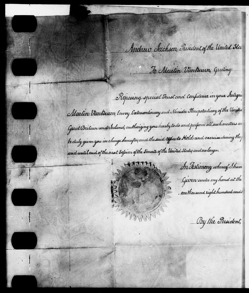 Martin Van Buren Papers: Series 3, Additional Correspondence, 1811-1853; Originals; 1831
