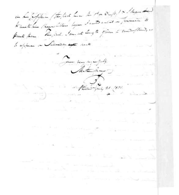 Mathew Carey to James Madison, July 21, 1831.