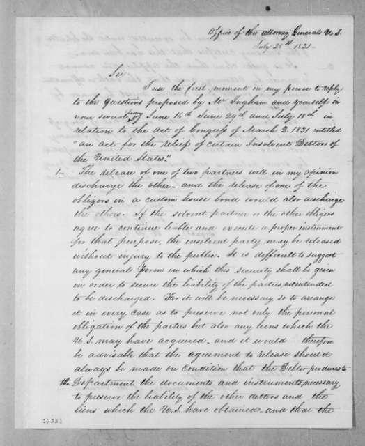 Robert Brooke Taney to Asbury Dickins, July 28, 1831