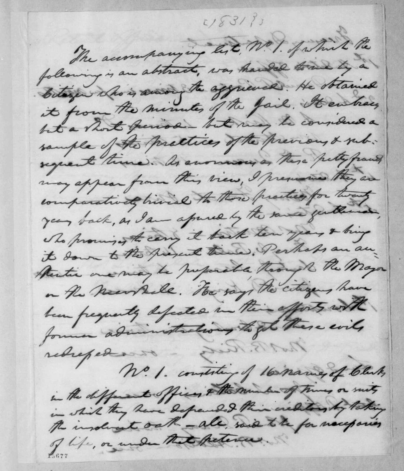 Robert Mayo to Andrew Jackson, March 6, 1831