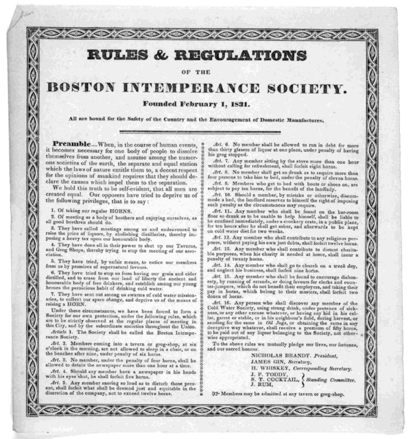 Rules & regulations of the Boston intemperance society. Founded February 1, 1831.