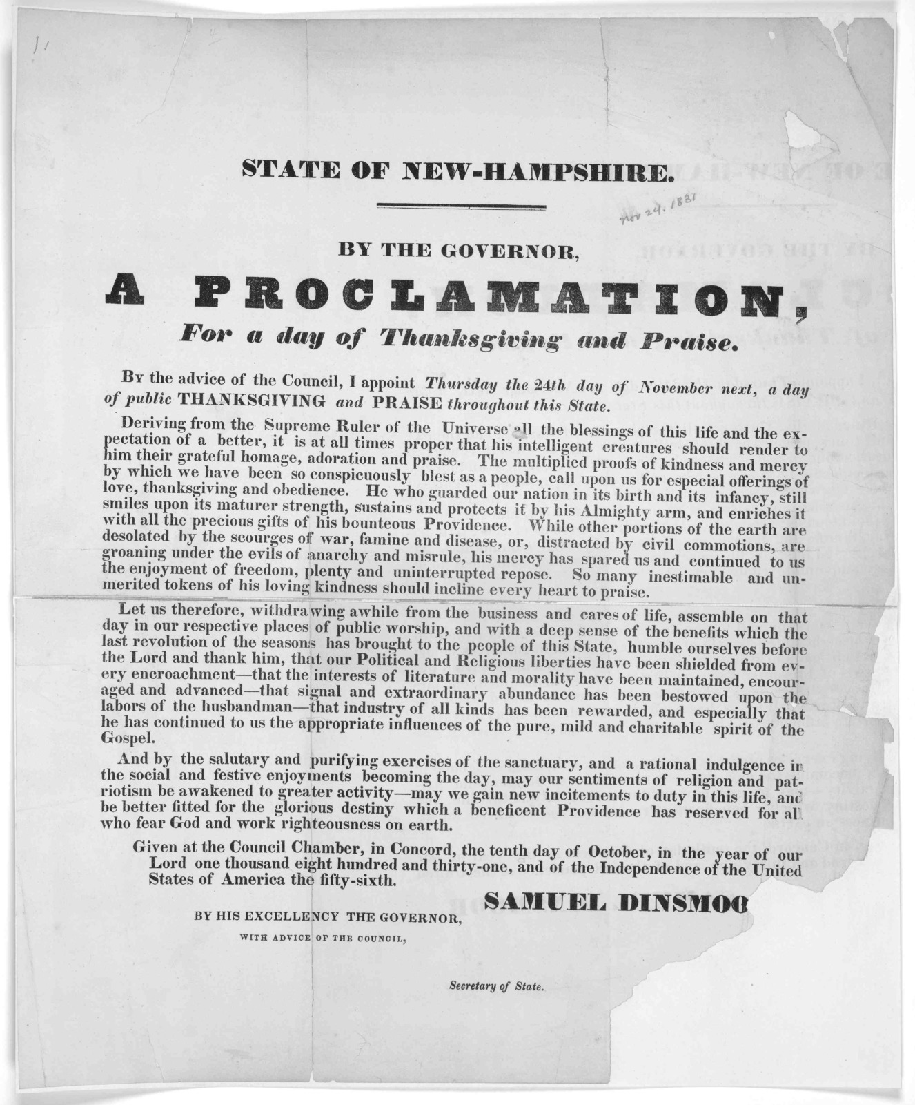 State of New-Hampshire. By the Governor, A proclamation, for a day of Thanksgiving and praise. By the advice of the Council, I appoint Thursday the 24th day of November next, a day of public Thanksgiving and praise throughout this State ... Give