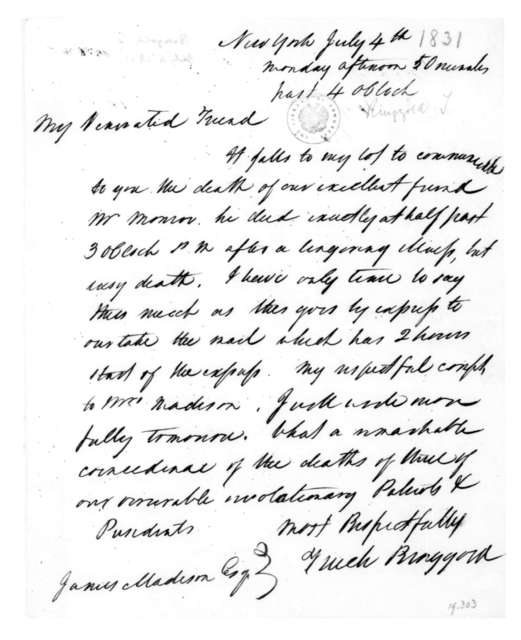 Tench Ringgold to James Madison, July 4, 1831.