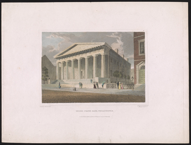 United States Bank, Philadelphia / drawn by C. Burton, N.Y. ; engraved & printed by Fenner, Sears & Co.