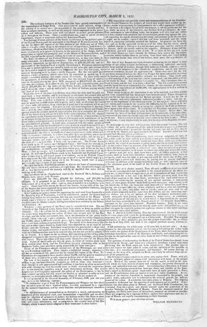 Washington City, March 2, 1831. Sir: The ordinary business of the Session has been greatly interrupted to the impeachment of Judge Peck ... William Hendricks.