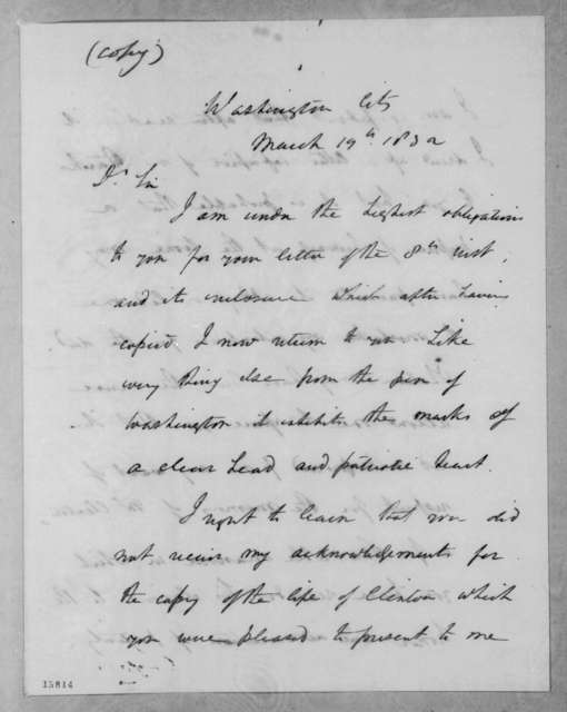 Andrew Jackson to David Hosack, March 19, 1832