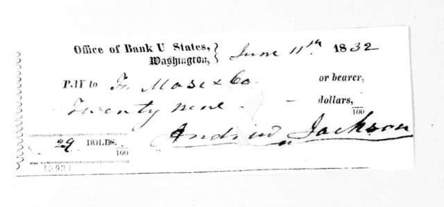 Andrew Jackson to F. Masi & Co, June 11, 1832