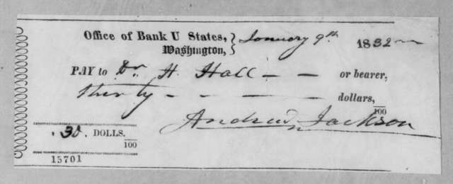 Andrew Jackson to James C. Hall, January 9, 1832