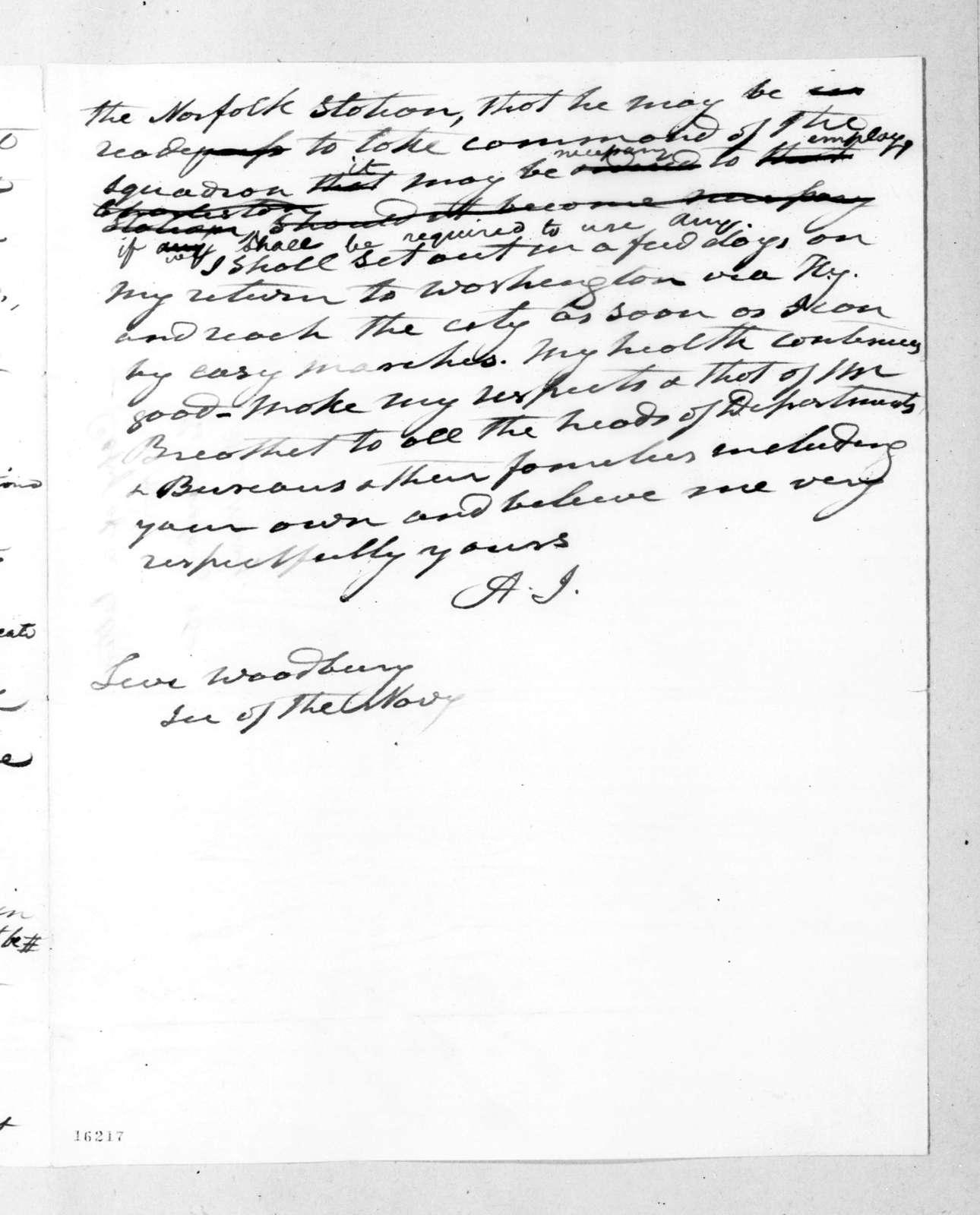 Andrew Jackson to Levi Woodbury, September 11, 1832