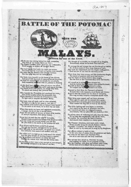 Battle of the Potomac. with the Malays. Written by one of the crew [1832].