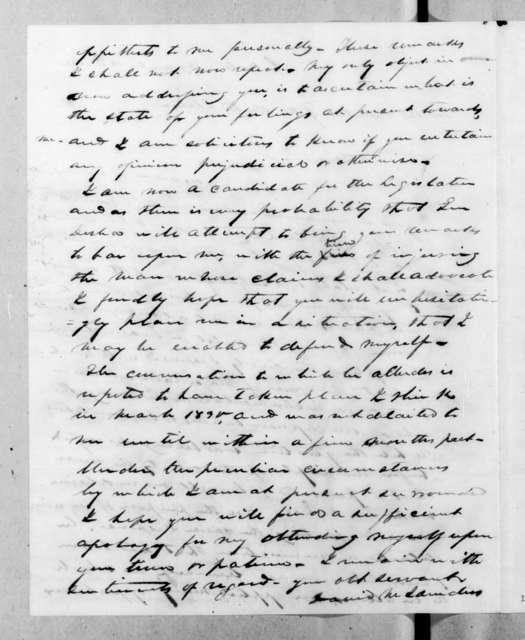David M. Saunders to Andrew Jackson, December 12, 1832