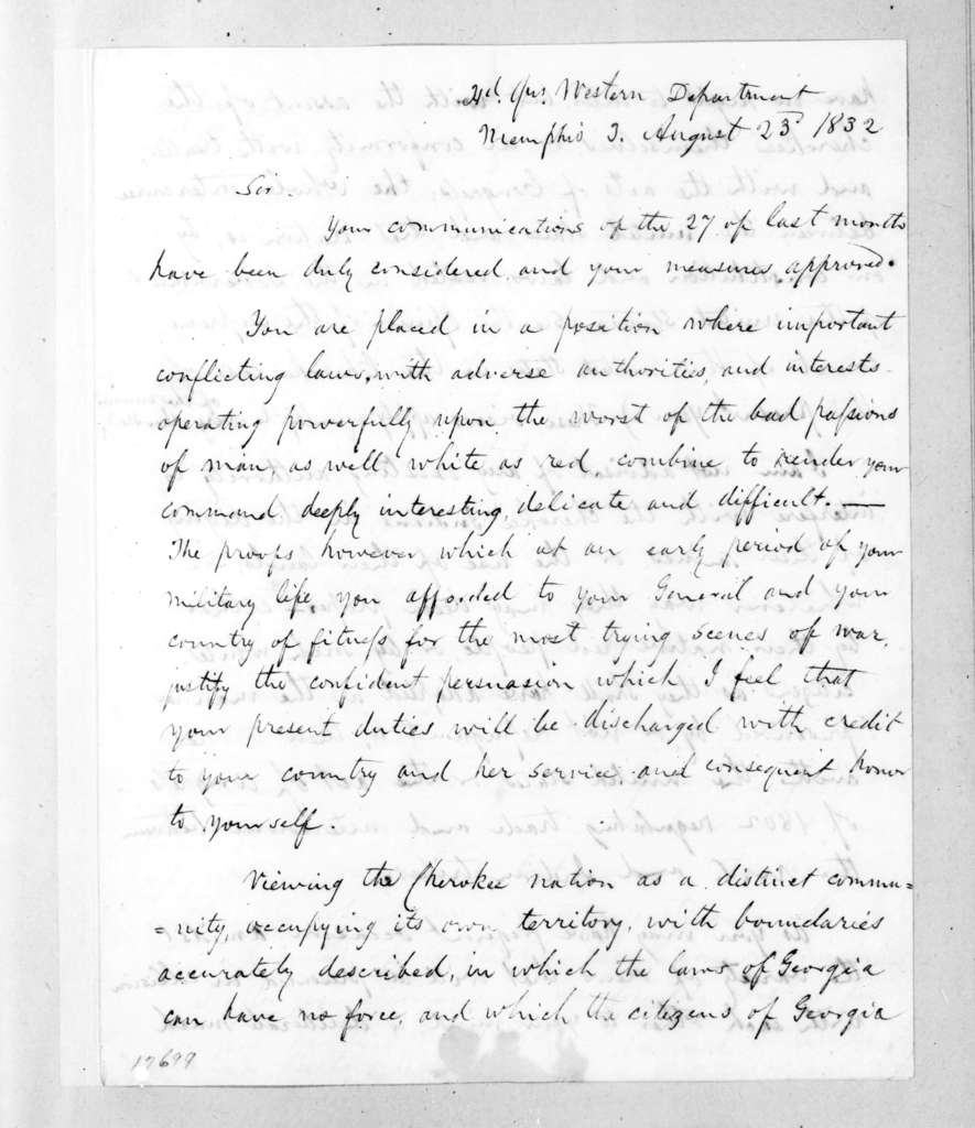 Edmund Pendleton Gaines to Major Belton, August 23, 1832