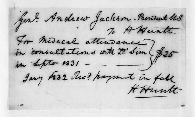 H. Huntt to Andrew Jackson