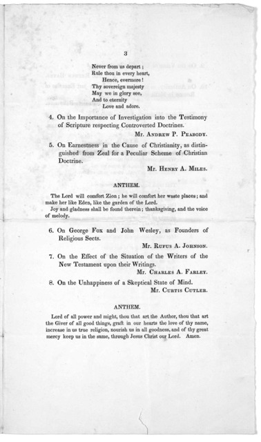 Harvard University. Cambridge. Order of exercises at the annual visitation of the Divinity School, Wednesday, July 18, 1832. Cambridge: Printed By E. W. Metcalf and company 1832.