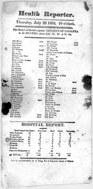 Health reporter. Thursday, July 26 1832, 10 o'clock. The Board of Health reports 141 cases of cholera & 55 deaths, since July 25 10 A. M. viz ... Printed and published by A. Bling, No. 9 Canal-st corner of Elm st.
