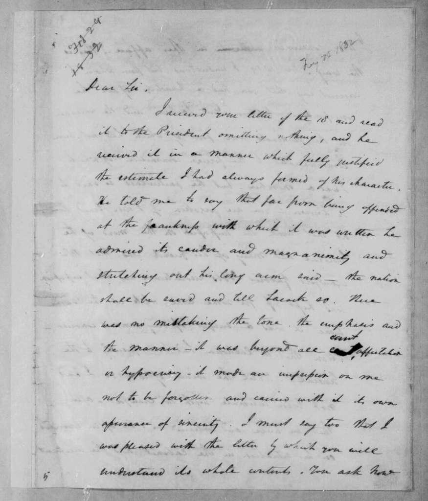 Henry Baldwin to Abner Lacock, February 25, 1832