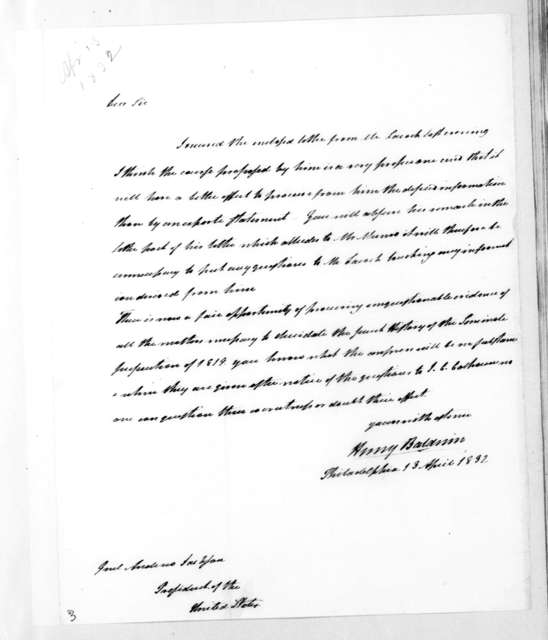 Henry Baldwin to Andrew Jackson, April 13, 1832