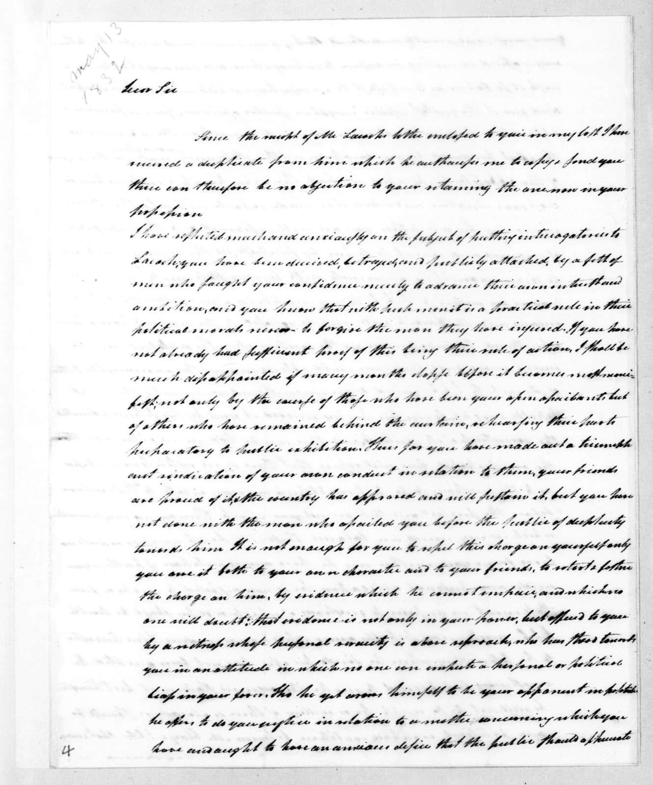 Henry Baldwin to Andrew Jackson, May 13, 1832