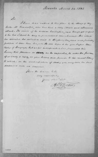 Henry St. George Tucker to Andrew Jackson, March 24, 1832