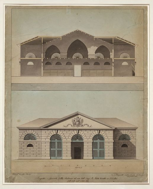 [Imperial stable at Polesella Venetia. Elevation and section ] / A. Bernati.