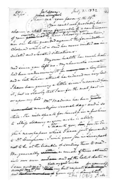 James Madison to James Maury, July 31, 1832.