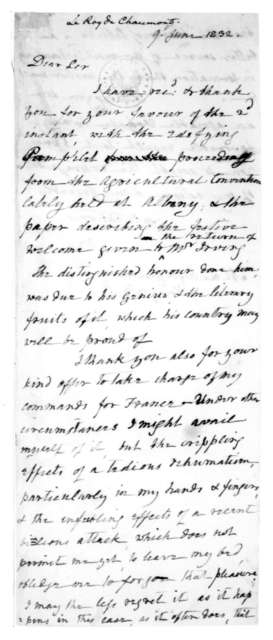 James Madison to Le Ray de Chaumont, June 9, 1832.