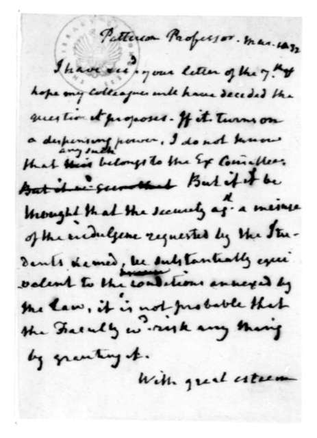 James Madison to Richard M. Patterson, March, 1832.