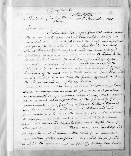 Joel Roberts Poinsett to Andrew Jackson, December 17, 1832